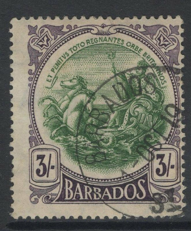 BARBADOS SG200 1918 3/= GREEN & DEEP VIOLET USED