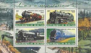 Burundi 2011 M/S Steam Locomotives Trains Rail Transport Railway Stamps MNH (4)