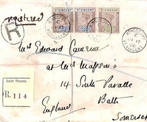 W400 St Vincent *GOVERNMENT HOUSE* W.Indies 1906 Registered Cover Bath Somerset