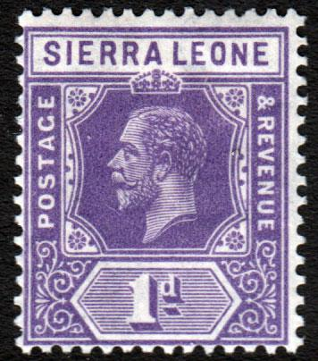 Sierra Leone KGV 1921 1d Bright Violet SG132 Mint Lightly Hinged