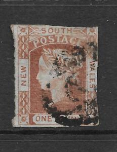 NEW SOUTH WALES 1851-52    1d  CLARET  QV   FU     SG 50