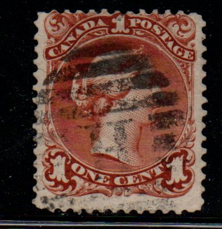 Canada Sc 22 1868 1 c brown red large Queen Victoria stamp used