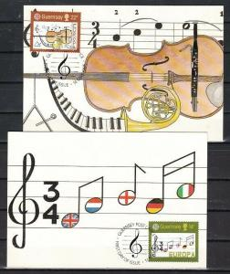 Guernsey, Scott cat. 314-315. Europa-Music Year issue on Maximum Cards. ^