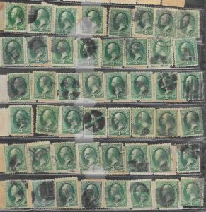 184 Used, 3c. Washington, 108 stamps, scv: $108,  FREE INSURED SHIPPING,108