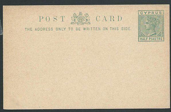 CYPRUS QV ½p postcard fine unused....................................46904