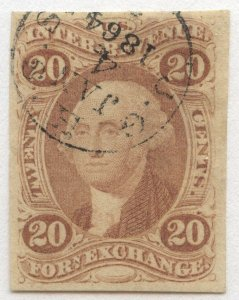 1014 U.S. Revenue Scott R41a, 20-cent Foreign Exchange imperf, handstamp cancel