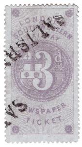 (I.B) London & South Western Railway : Newspaper Ticket 3d (Salisbury)