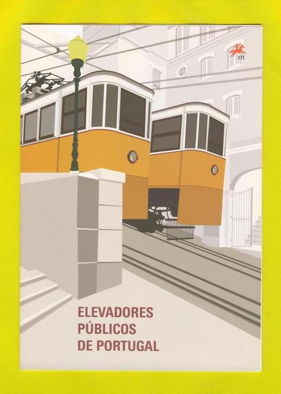 BROCHURE FDC Souvenir SHEET PORTUGAL FUNICULAR TRAM TRAINS 2010