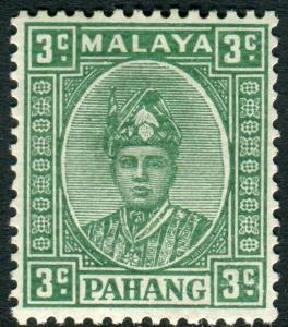 PAHANG-1941 3c Green (ordinary).  A lightly mounted mint example Sg 31