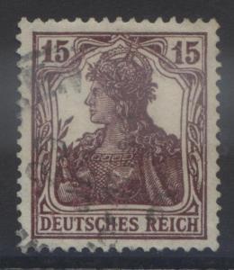 GERMANY -Scott 120- Germania Definitive - 1920 - FU Single 15pf Brown Stamp4