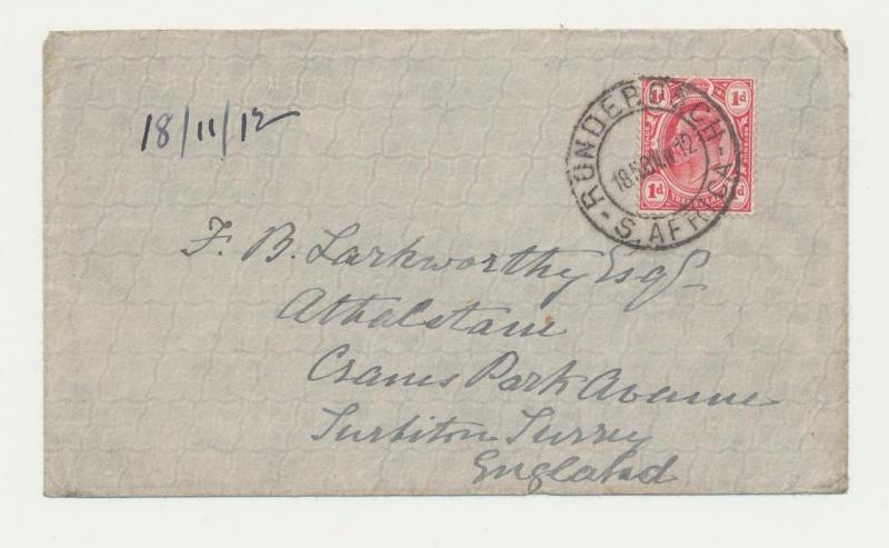 CAPE OF GOOD HOPE 1912 RONDEBOSCH CDS ON COVER TO UK, 1d RATE