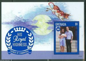 GRENADA  2013 BIRTH OF PRINCE GEORGE WITH KATE & PRINCE WILLIAM SOUVENIR SHEET