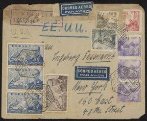 Spain 664, etc. on 1940 WWII censored airmail cover w/Correo Aereo Vitoria pmks