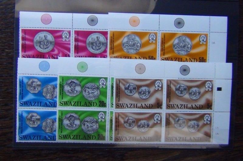 Swaziland 1979 Coins set in block x 4 MNH