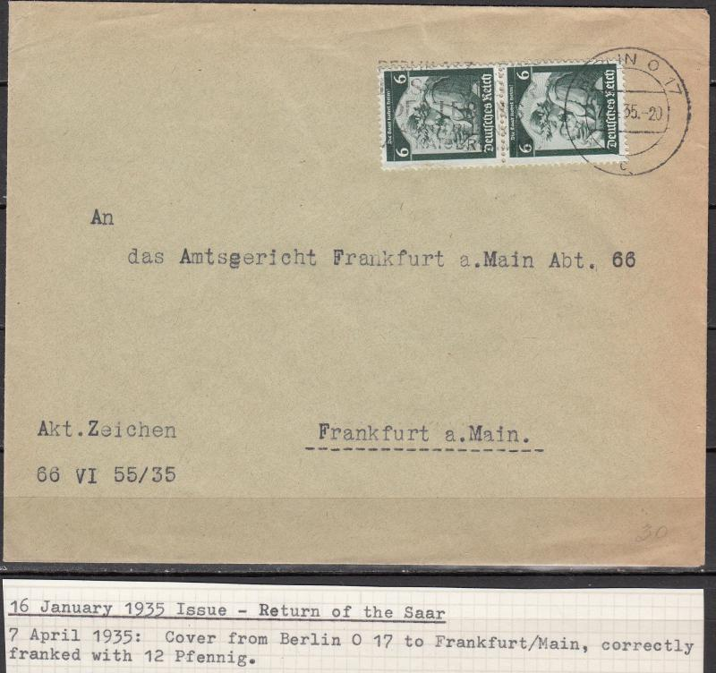 Germany - 7.4.1935 6pf Return of the SAAR as MeF on cover to Frankfurt (1918)