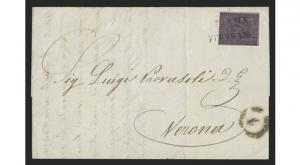 PARMA 1852 25c BLACK ON VIOLET ON COVER