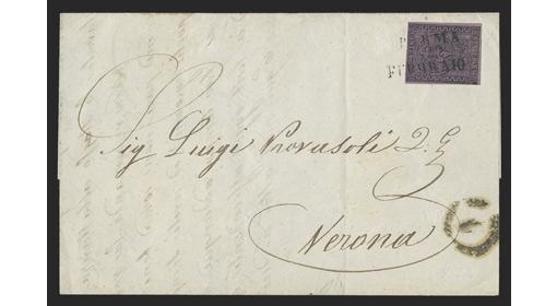 PARMA 1852 25c BLACK ON VIOLET ON COVER