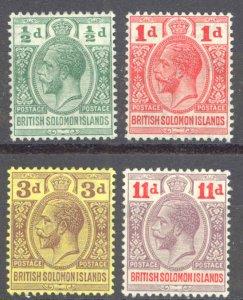 Solomon Islands Sc# 19-22 MH 1913-1914 1/2p-11p KGV Inscribed Postage-Postage