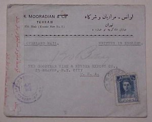IRAN PERSIA CENSORED COVER TEHERAN TO USA 1944