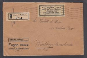 Switzerland Sc 160a, 168a on 1931 Registered Letter from Eugen Sekula to USA