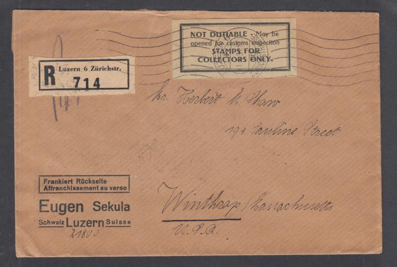 Switzerland Sc 160a, 168a on 1931 Registered Letter from