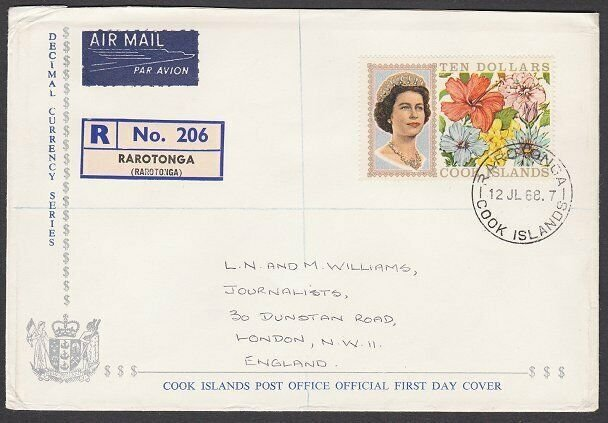 COOK IS 1968 $10 flowers definitive FDC.....................................N158