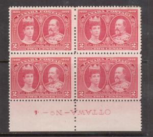Canada #98 Mint Plate #4 Block Inverted