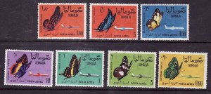 Somalia-Sc#C75-81-unused NH airmail set-Insects-Butterflies-Planes-1961-