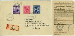 Bohemia Moravia Registered Cover WWII Occupied Czechoslovakia Postage Prague