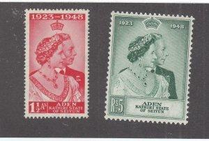 ADEN-KATHIRI STATE # 14-15 VF-MNH 1948 KING GEORGE VI SILVER WEDDING-#2 CV $22