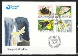 Faroe Is., Scott cat. 256-259. Butterflies issue. First day cover.