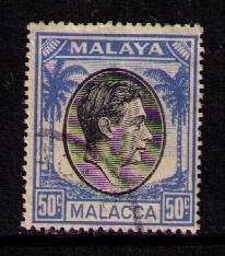 MALAYA MALACCA Sc# 14 USED FVF Palm Tree & KGVI  50c