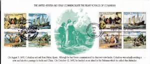 U.S.+ Italy Joint Issue 1992  Legal Size FDC Color Cachet Voyage of Columbus VF