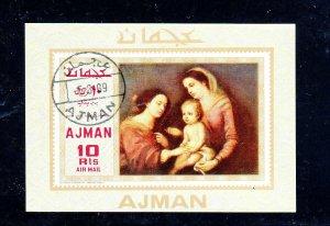 AJMAN  1969  MADONNA AND CHILD   MINT  VF NH  O.G  S/S  CTO  (aj29)