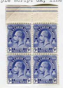 TURKS & CAICOS; 1925 early GV issue Mint hinged Block 3d.
