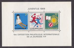 Luxembourg # 474, Juventus Philatelic Exhibition with Ticket,  NH, 1/2 Cat.