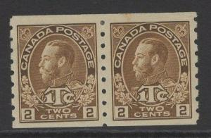 CANADA SG241 1916 2c+1c BROWN MTD MINT PAIR