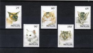 Netherlands Antilles 1995 Domestic Cats Set (5) MNH Sc # 750