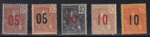 Indo-China #  60-64, Surcharged Stamps, Hinged, 1/2 Cat.