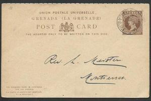 GRENADA QV 1½d + 1½d reply postcard used to Montserrat.....................61046