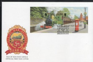 Isle of Man Sc 785 1998 Steam Engine stamp sheet on FDC