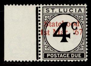 ST. LUCIA GVI SG D8a VAR, 4c with OVPT, NH MINT.