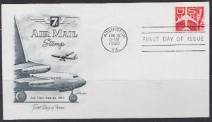 C60 Silhouette of Jet sheet stamp Artmaster FDC