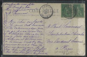 FRENCH INDOCHINA  (PP3008B)  1909   PPC FROM  SAMSON TO FRANCE