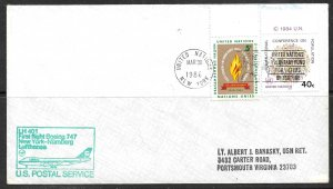 UNITED NATIONS NY 1986 LUFTHANSA Boeing 747 Nurnberg GERMANY First Flight Cover