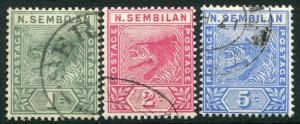 NEGRI SEMBILAN-1891-94 Set of 3 Values Sg 2-4 FINE  USED V19914