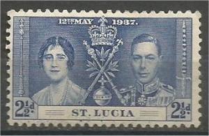 ST. LUCIA, 1937, MH 21/2p, Coronation Issue Scott 109