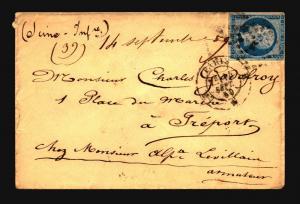 France 1859 Cover / Paris CDS (II) - Z15686