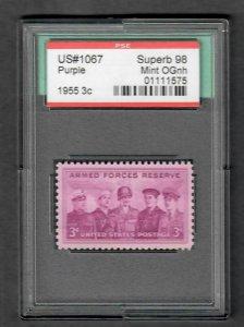 $US SC#1067 M/NH OG, PSE Graded Superb 98 encapsulated stamp, SMQ. $50