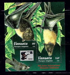 Vanuatu 677 MNH 1996 Flying Foxes sheet of 2